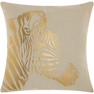 Mina Victory Luminescence Metallic Zebra Beige/Gold Throw Pillow by Nourison (18-Inch X 18-Inch)