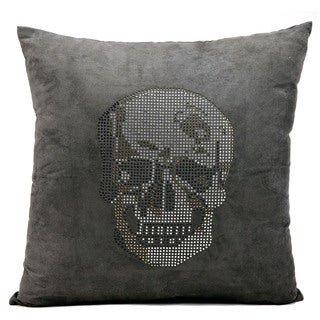 Mina Victory Luminescence Rhinestone Skull Dark Grey Throw Pillow by Nourison (18 x 18-inch)
