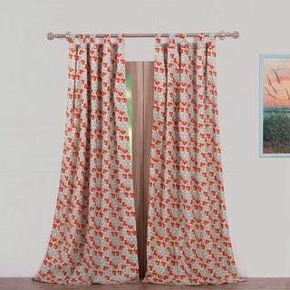 Greenland Home Fashions Terra Blossom Blue Polyester Window Curtain Panel Pair