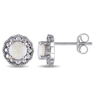 Miadora 10k White Gold Opal Birthstone Halo Earrings