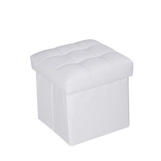 Kori White PU Ottoman with Storage
