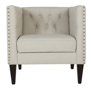 Cobi Beige Accent Chair with Espresso Legs