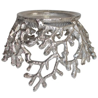 Silver Aluminum Pillar Candle Holder