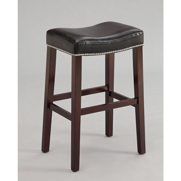 Lewis Black Polyurethane Counter-height Stool with Espresso-finished Wood Legs (Set of 2)