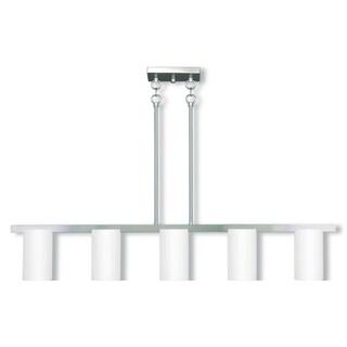 Livex Lighting Astoria Silvertone Steel/Frosted Glass 5-light Linear Chandelier