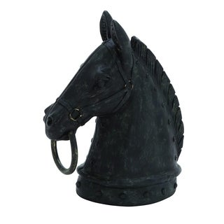 Decorative Poly-stone Horse Head With Hammered Nail Pattern