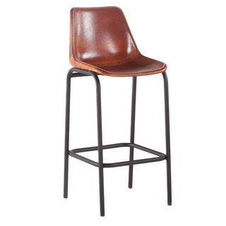 Brown Leather Bar Chair with Black Metal Legs