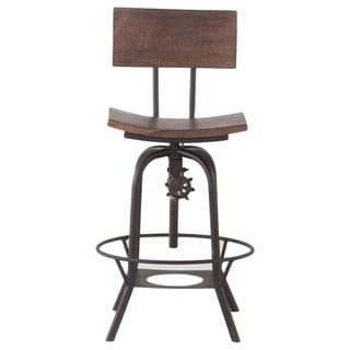 Solid Mango Wood Adjustable Bar Chair with Metal Legs