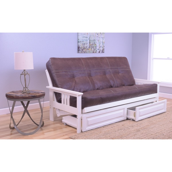 Somette Beli Mont Antique White Futon With Palance Mattress and Storage Drawers