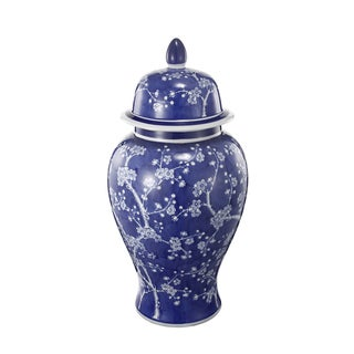 A&B Home Indigo and White Cherry Blossom Ceramic Ginger Jar