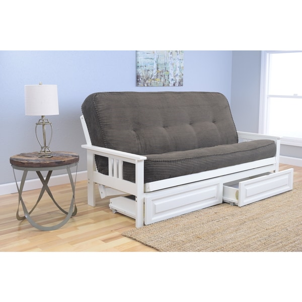 Somette Beli Mont Futon 2-drawer Antique White Frame and Mattress Set