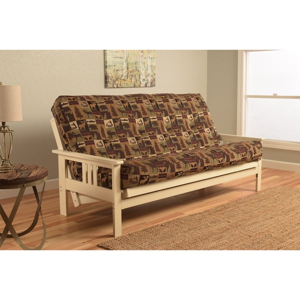 Somette Beli Mont Futon with Antique White Frame and Fairbanks Evergreen Mattress