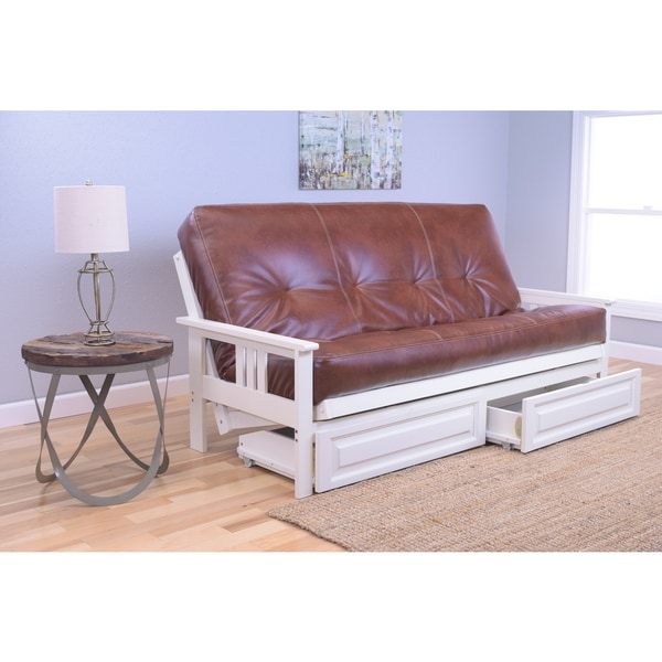 Somette Beli Mont Futon with Antique White Frame and Oregon Trail Mattress and Storage Drawers