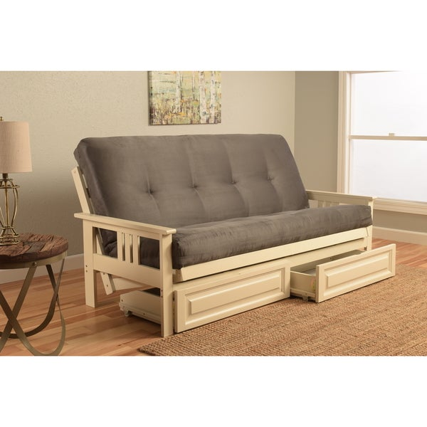 Somette Beli Mont Futon with Antique White Frame, Grey Suede Mattress, and Storage Drawers