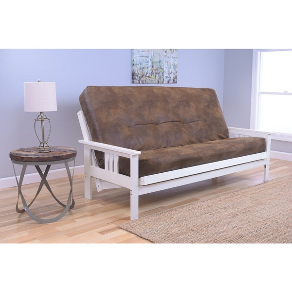 Somette Beli Mont Futon with Antique White Frame and Palomino Tobacco Mattress