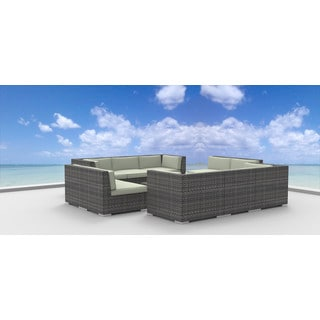 Urban Furnishing Bermuda Multicolored Wicker/Polyester/Aluminum Patio Sofa Sectional (11-piece Set)