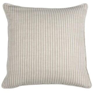 Kosas Home Tan and White Linen Square Striped Throw Pillow