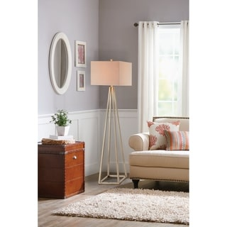 Catalina 19745-001 3-way 62.72-inch Gold Open Caged Metal Floor Lamp With Natural Linen Rectangular Shade, Bulb Included