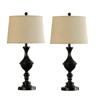 Catalina 18658-002 Oil Rubbed Bronze Metal 28-inch Trophy Table Lamps with White Fabric Modified Drum Shades (Set of 2)