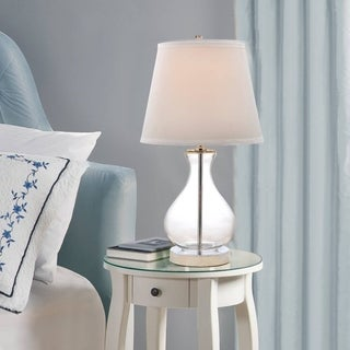 Catalina 19896-000 Clear Teardrop Glass/White Fabric Shade 18-inch Table Lamp