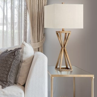 Catalina 19744-001 3-way 31-inch Gold Open Caged Metal Table Lamp With Natural Linen Rectangular Shade, Bulb Included