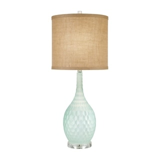 Catalina 19915-001 Three-Way Seafoam Blue Glass 32-inch Burlap Drum Shade Table Lamp with Bulb Included