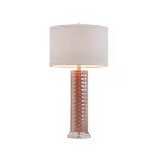 Catalina 19920-001 Iridescent Pink Faceted Glass 31-inch Three-way Table Lamp With Linen Drum Shade (Bulb Included)