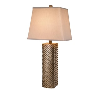 Catalina Lighting 19964-001 Antique Gold Resin 3-way 30-inch Embossed Table Lamp with Cream Textured Linen Shade
