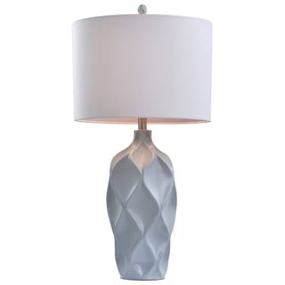 Catalina 19938-001 Light Grey 31-inch 3-way Faceted Table Lamp with White Linen Drum Shade