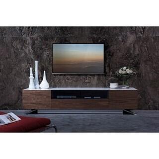 Ultra Modern Modrest Gillian White and Walnut Media Center TV Stand