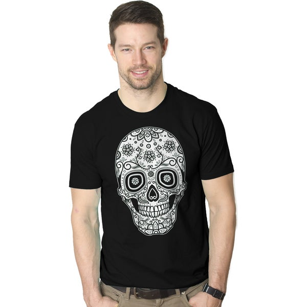 Men's Sugar Skull Cool Mexican Cinco De Mayo Holiday Drinking T-shirt