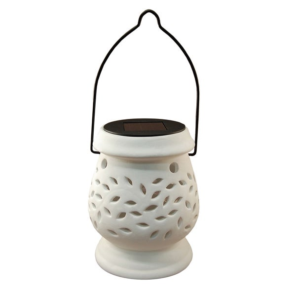 White Solar-powered Ceramic Lantern