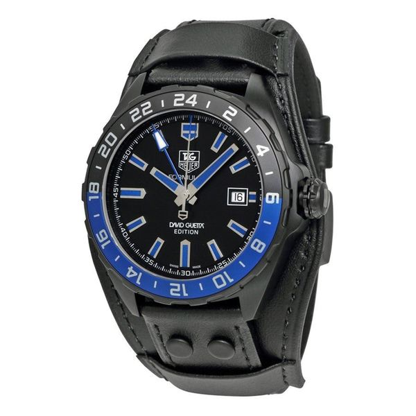 Tag Heuer Men's WAZ201A.FC8195 'Formula One David Guetta' Automatic Black Leather Watch