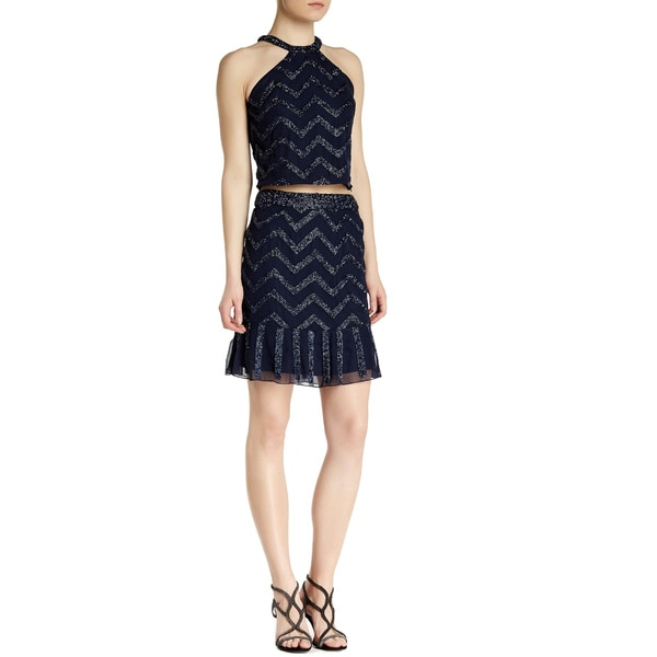 Lotus Threads Women's Black/Blue Polyester 2-piece Zigzag Short Skirt