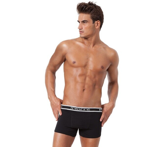 Miorre Men's White/Black Cotton/Lycra Super Soft Modal Stretch Boxer/Brief
