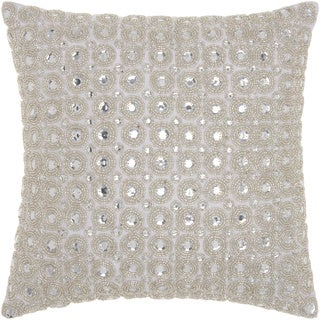 kathy ireland Marble Beads White Throw Pillow by Nourison (12 x 12-inch)