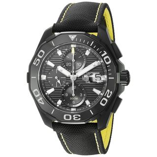 Tag Heuer Men's CAY218A.FC6361 'Aquaracer' Chronograph Automatic Black Canvas and Leather Watch