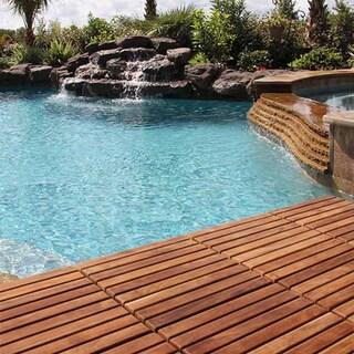 Solid Oiled Teak Wood Bare Decor Interlocking 9-slat Flooring Tiles (Pack of 10)