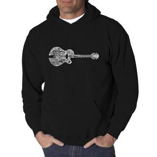 Los Angeles Pop Art Men's Country Guitar Black/Grey Cotton-blended Hooded Sweatshirt