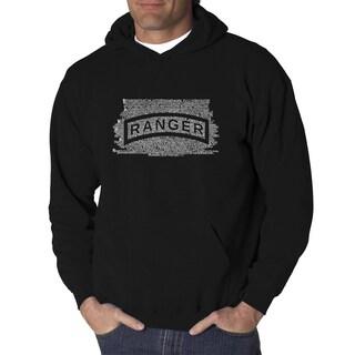 Los Angeles Pop Art Men's US Ranger Creed Black Cotton and Polyester Hooded Sweatshirt