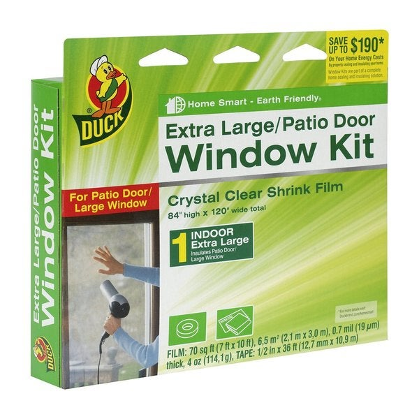 Duck Clear Plastic 84-inch x 120-inch Indoor Extra Large Window Patio Door Shrink Film Kit