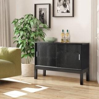 Furniture of America Reneson Modern Crocodile Textured Black Buffet/Dining Server