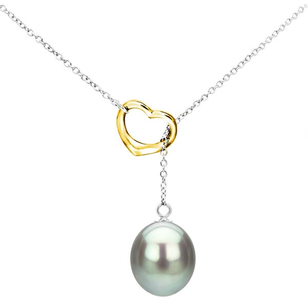 DaVonna Sterling Silver Open Heart Shape Chain Lariat Necklace with 9-10mm Grey Freshwater Cultured Pearl