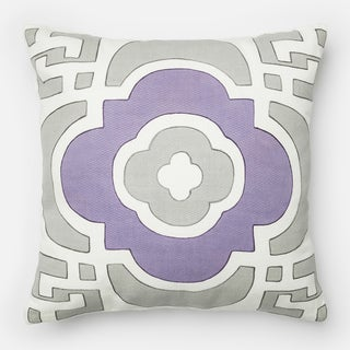 Screen Printed Grey/ Plum Marrakesh Feather and Down Filled or Polyester Filled 18-inch Throw Pillow or Pillow Cover