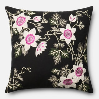 Embroidered Cotton Black/ Ivory Floral Feather and Down Filled or Polyester Filled 22-inch Throw Pillow or Pillow Cover