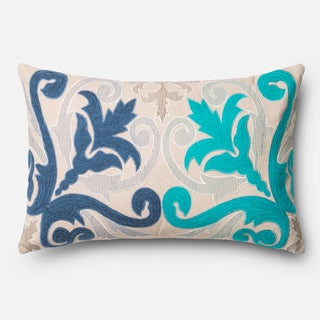 Embroidered Cotton Blue/ Beige Scroll Feather and Down Filled or Polyester Filled 13 x 21 Lumbar Throw Pillow or Pillow Cover