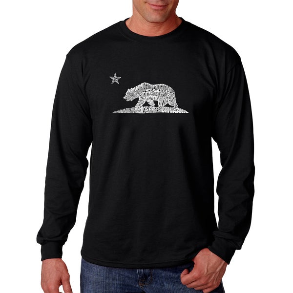 Los Angeles Pop Art Men's California Bear Black/Grey Cotton Long-sleeve T-shirt