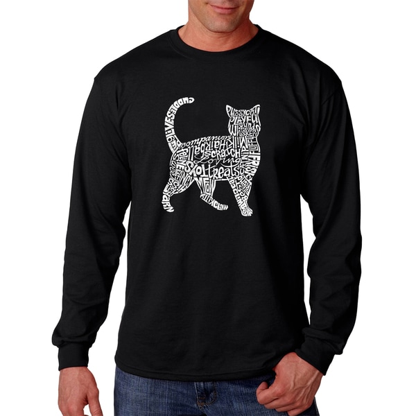 Men's Long Sleeve Black Cotton Cat T-shirt