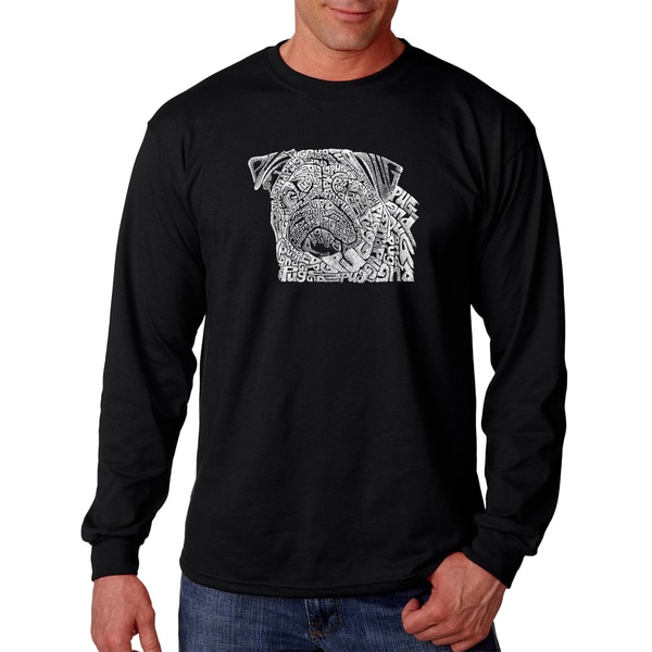 Los Angeles Pop Art Men's Pug Face Black Cotton Long-sleeved T-shirt