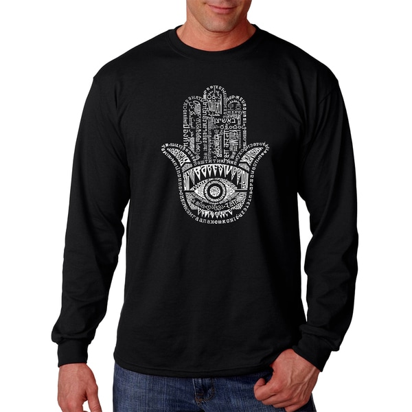 Los Angeles Pop Art Men's Hamsa Black Cotton Long-sleeved T-shirt